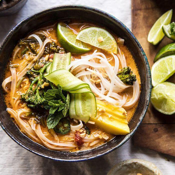 Peanut Noodle Soup With Lime Mango