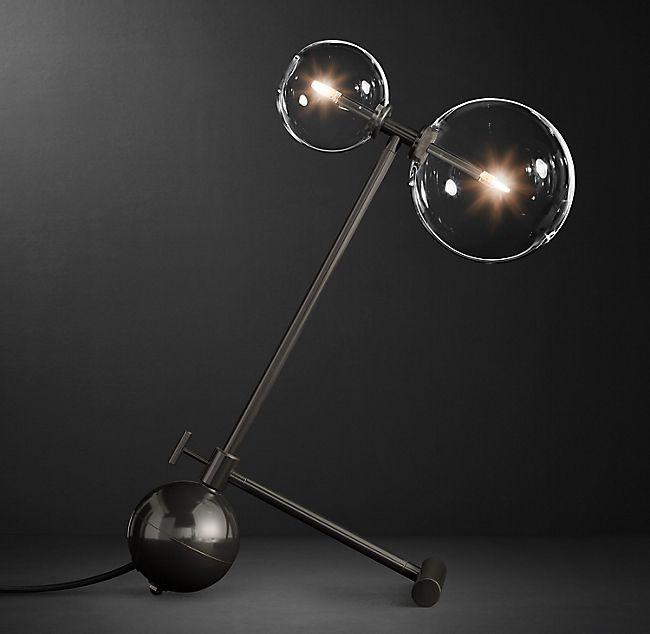 Glass Globe Mobile Boom Table Lamp