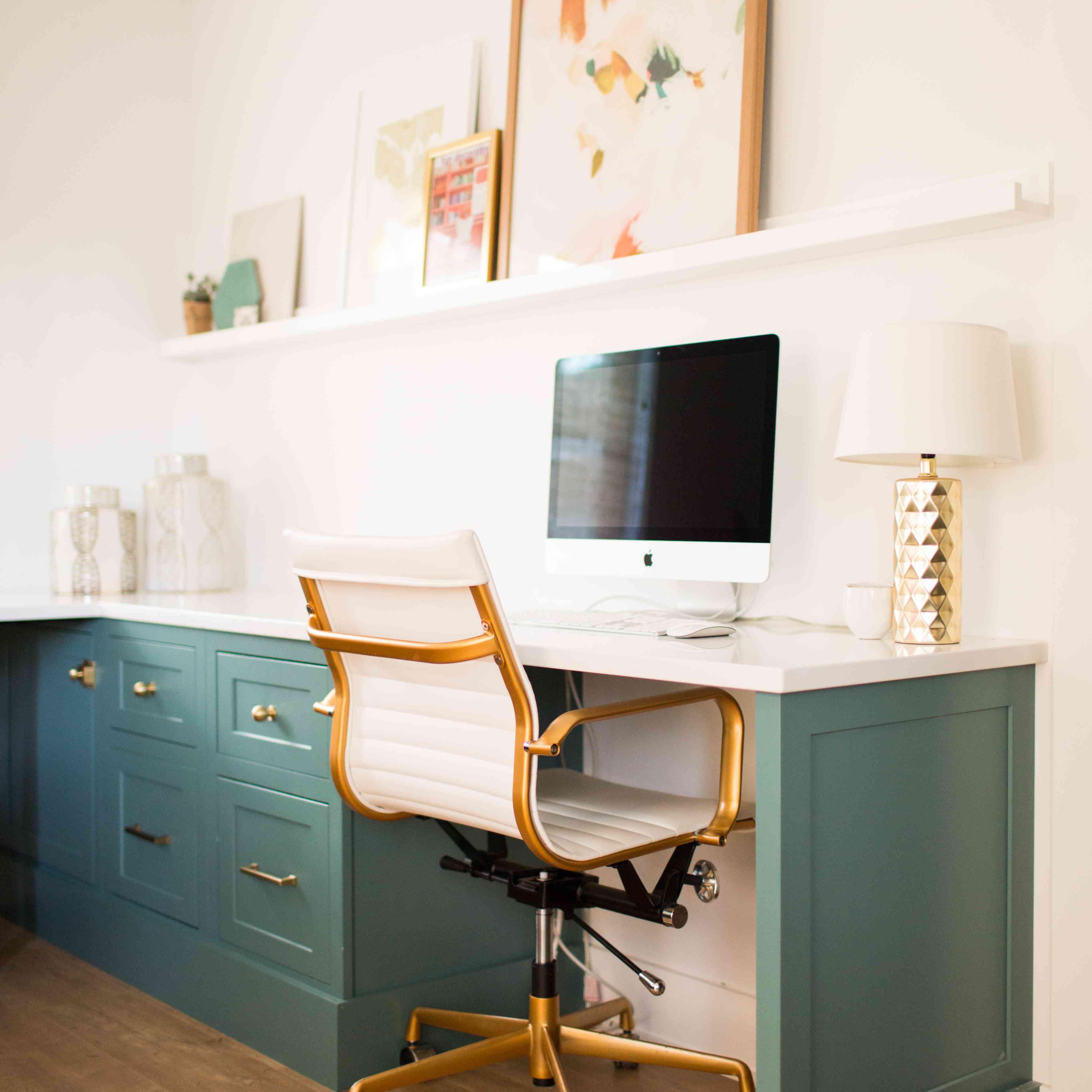 Blue green desk
