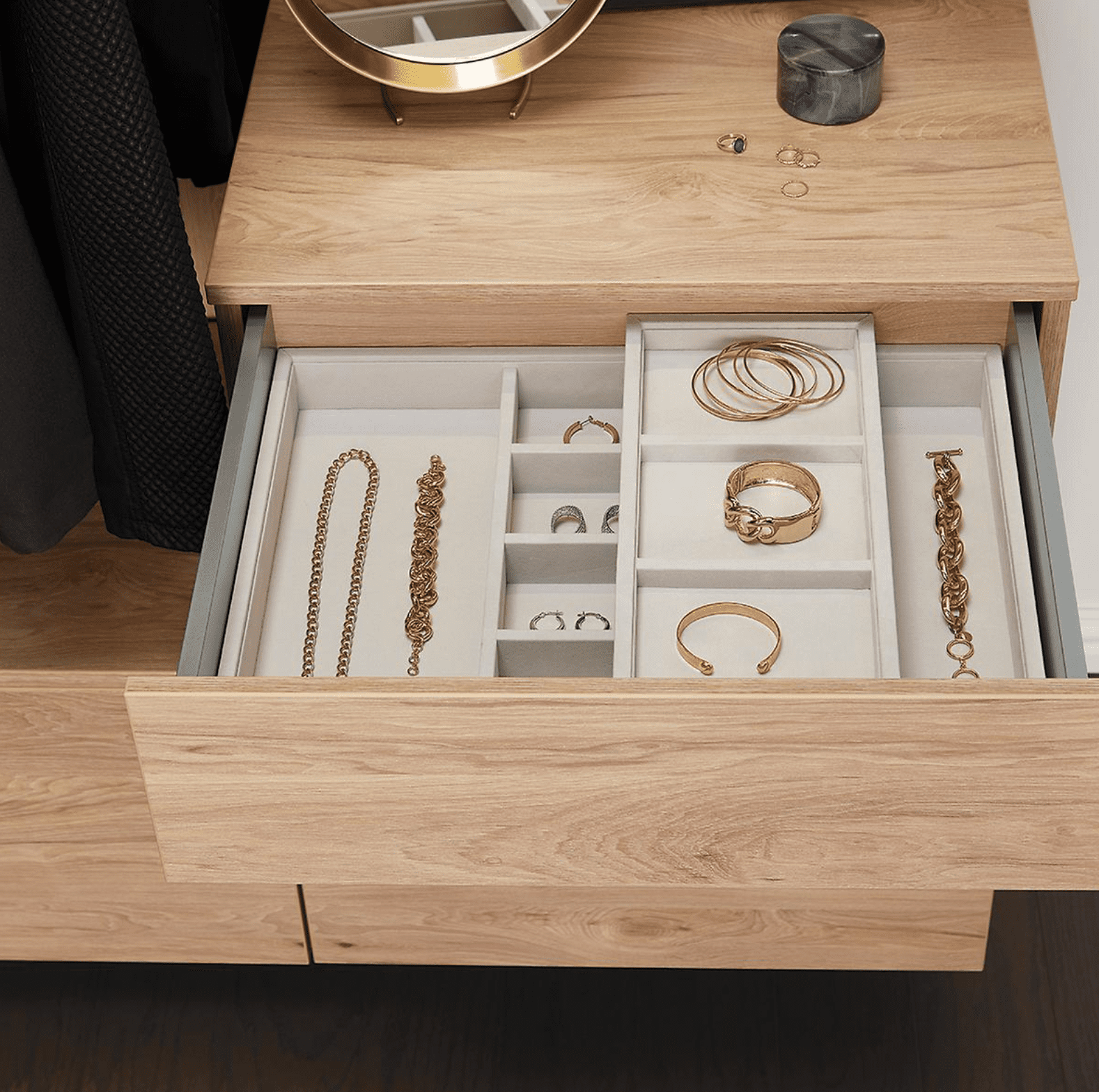 A jewelry organizer, which is currently for sale at The Container Store