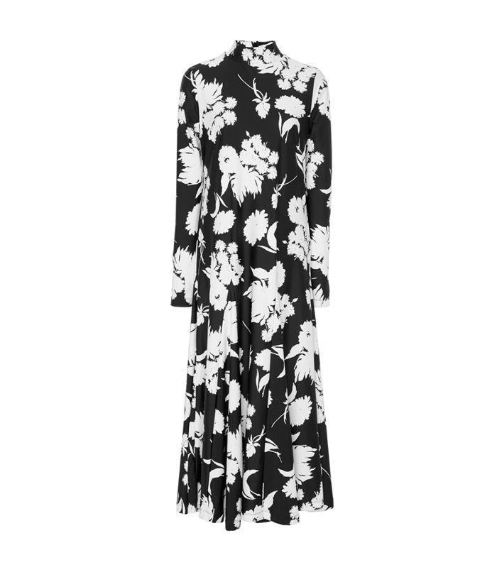 Alameda Pleated Floral-Print Stretch-Knit Maxi Dress