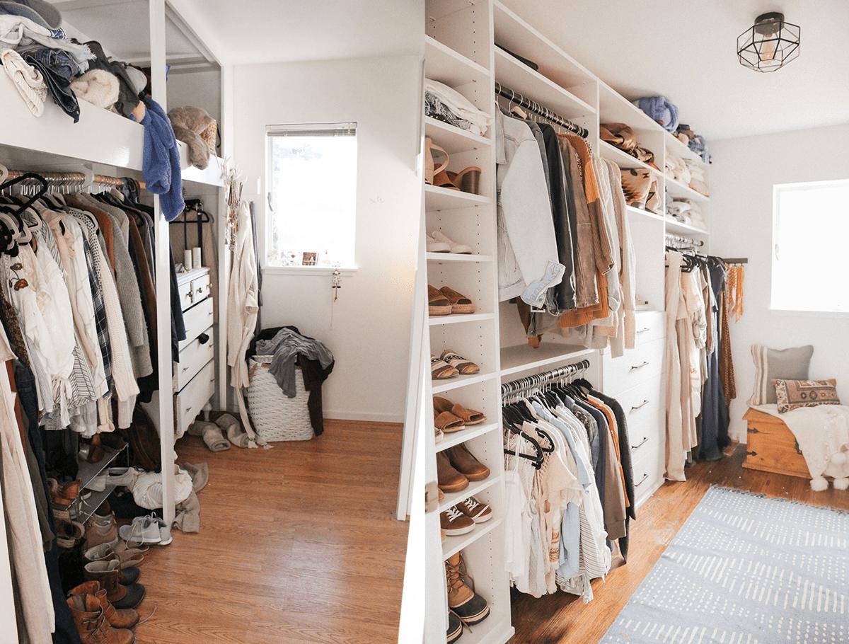 A closet makeover involving custom shelves