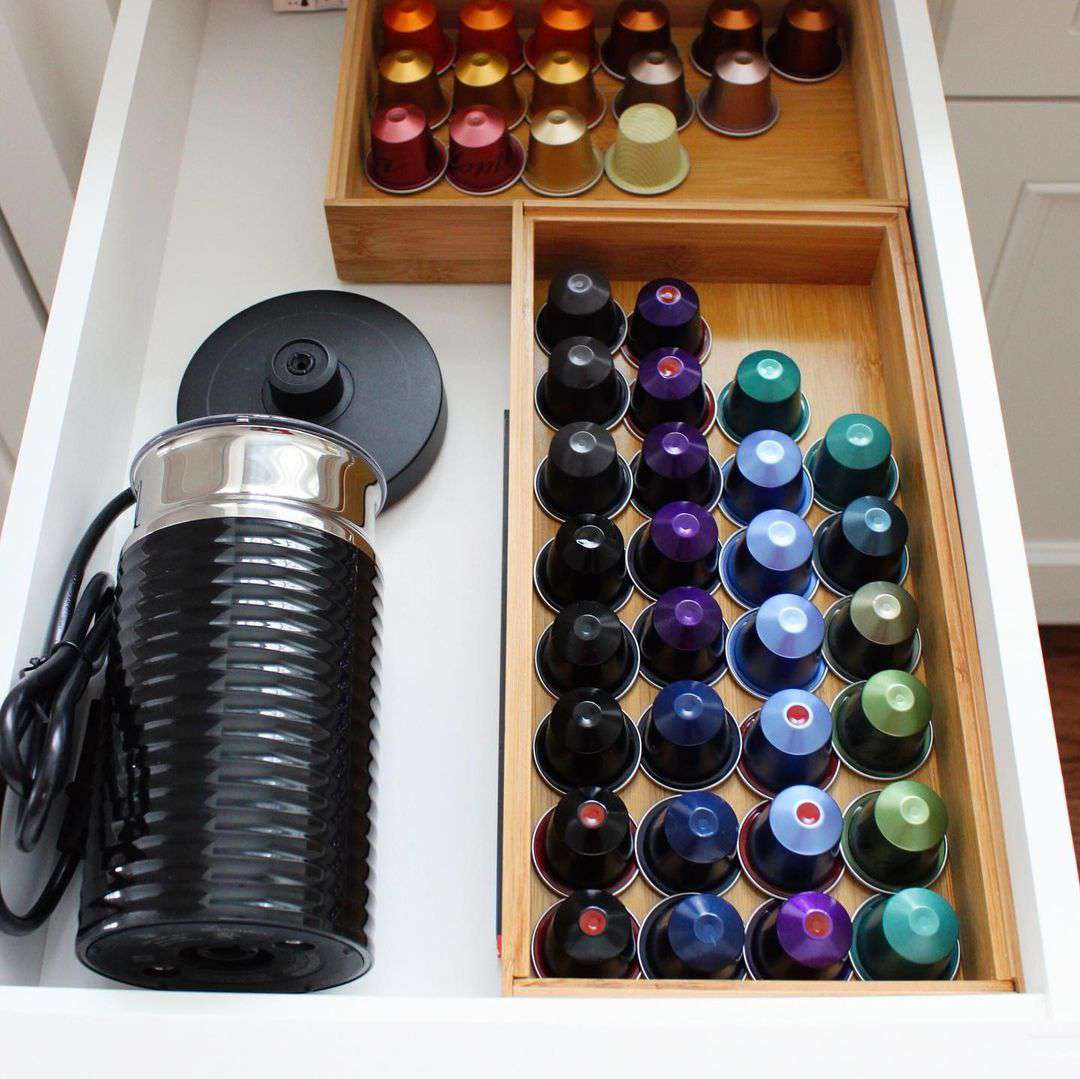 Drawer with coffee pods