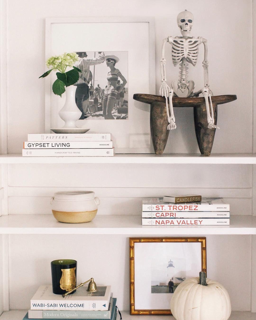 Bookshelf with skeleton
