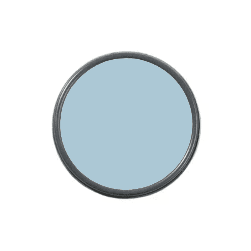 An overhead shot of a paint can with light blue paint in it