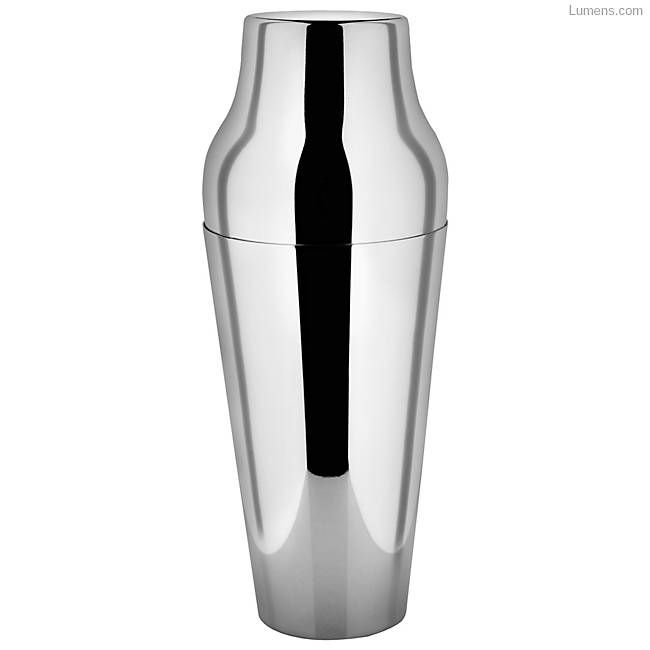 A sleek stainless steel cocktail shaker.
