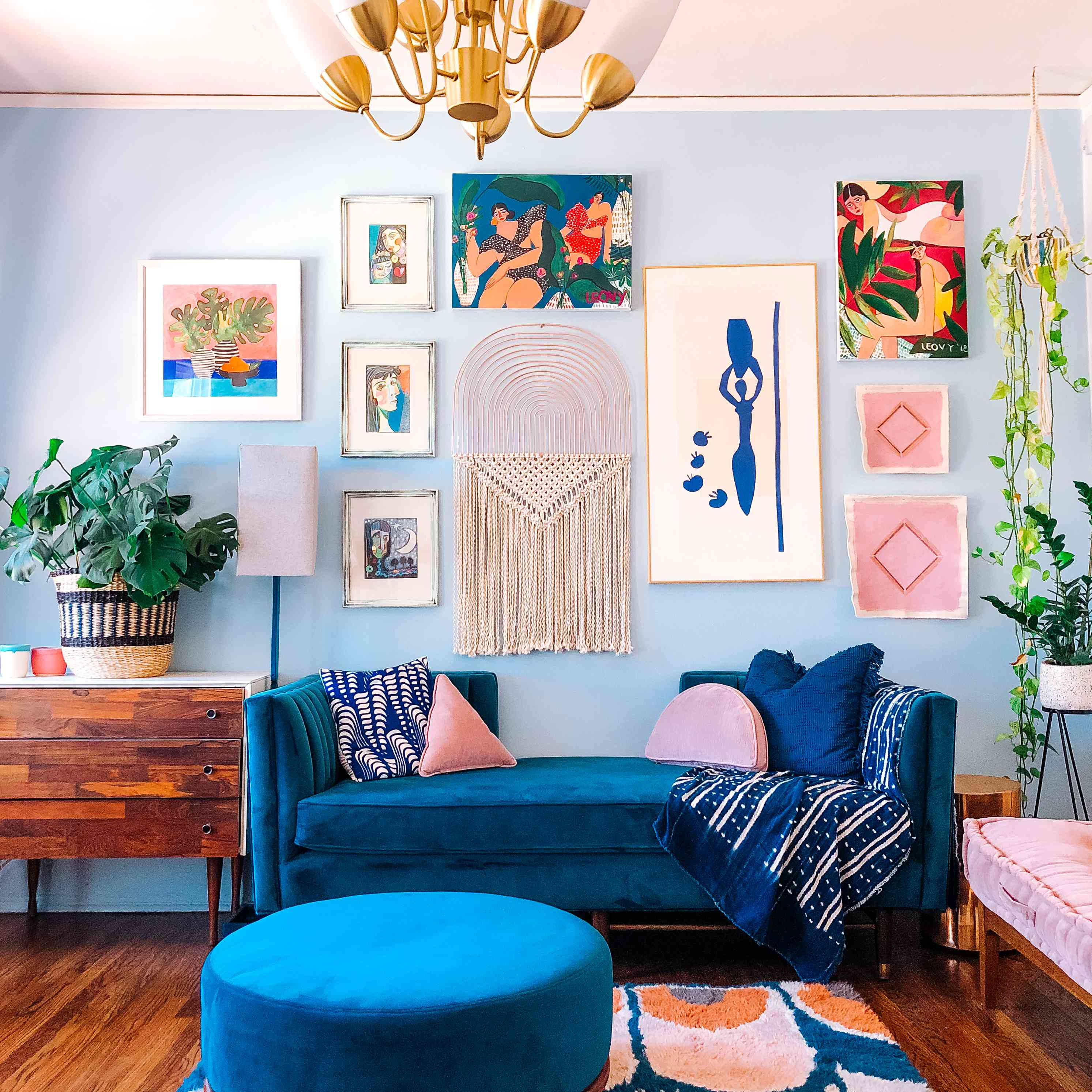 Bright blue room with colorful decor.