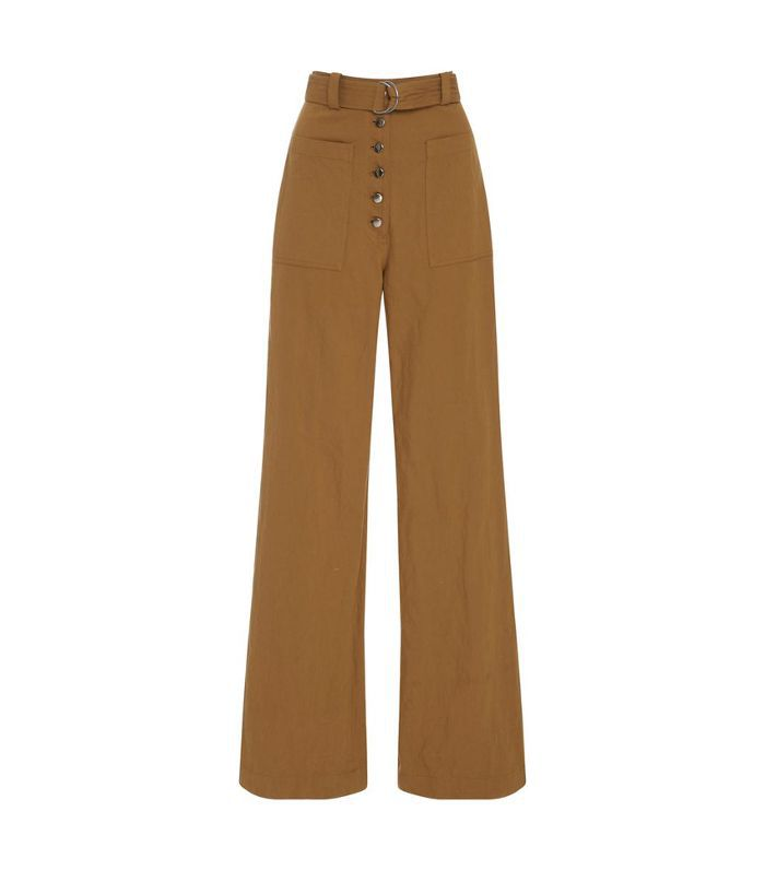 Linen and Silk-Blend Twill Wide-Leg Pants