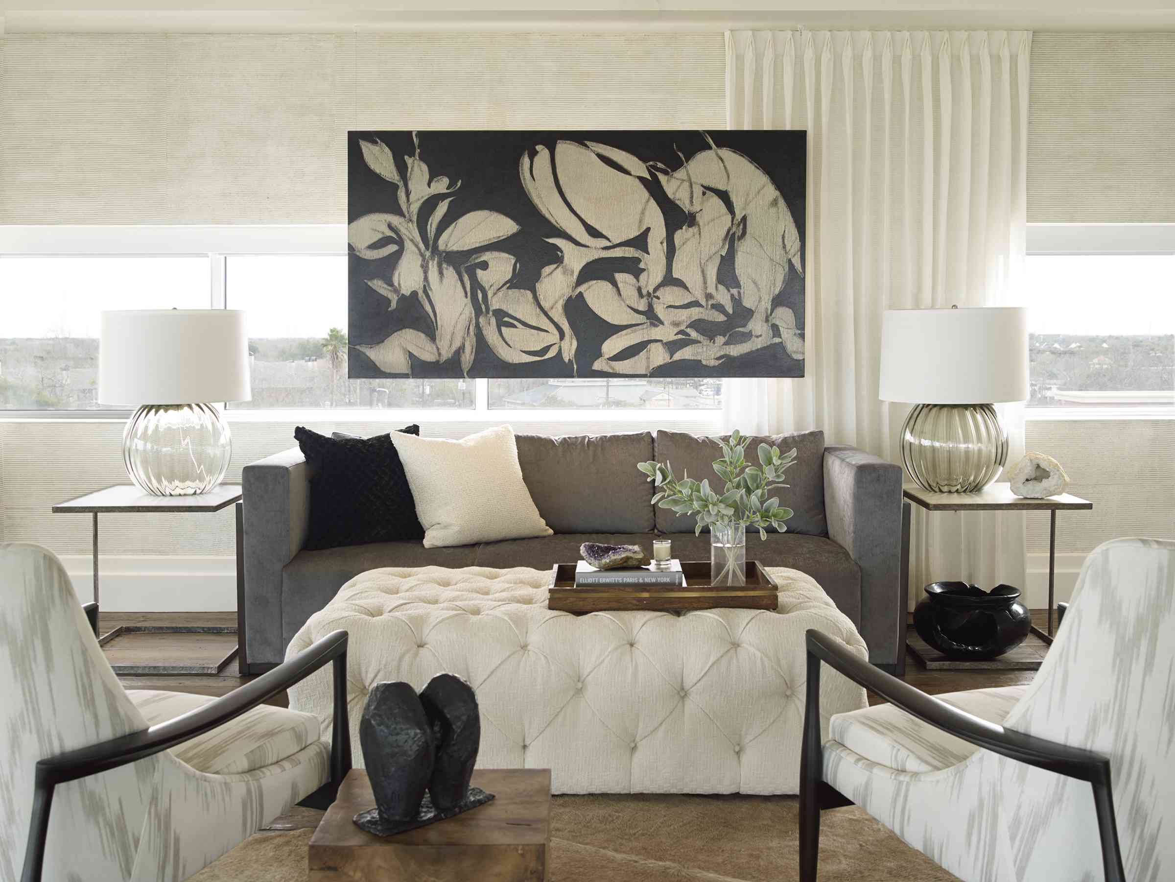 Chic living room filled with art and décor.