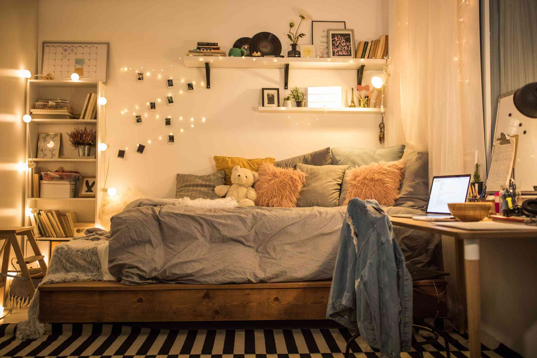 bedroom with soft lighting