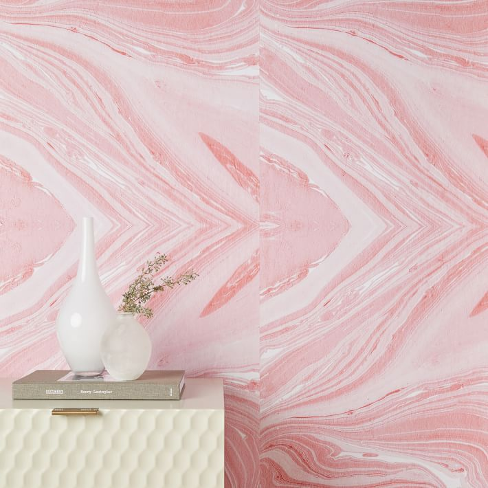 Chasing Paper Pink Marble Wallpaper, Rosa