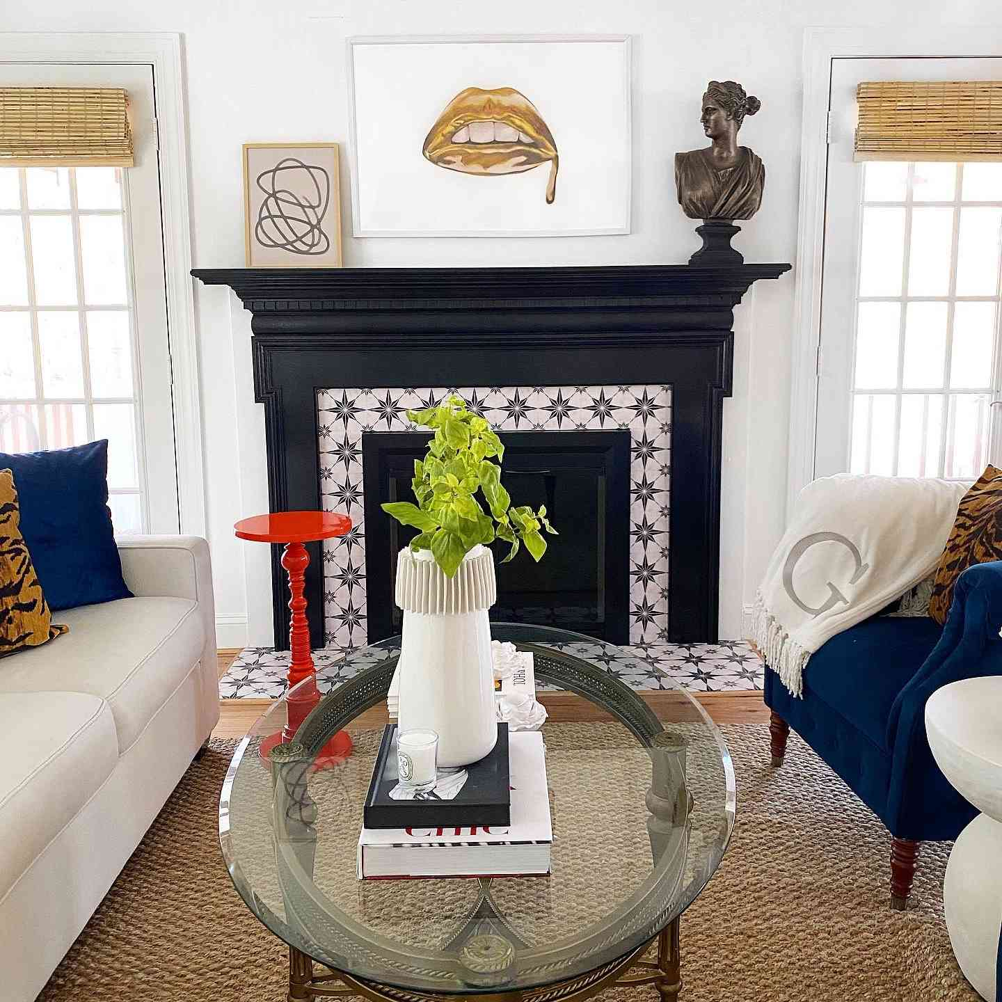 Fireplace with modern tile