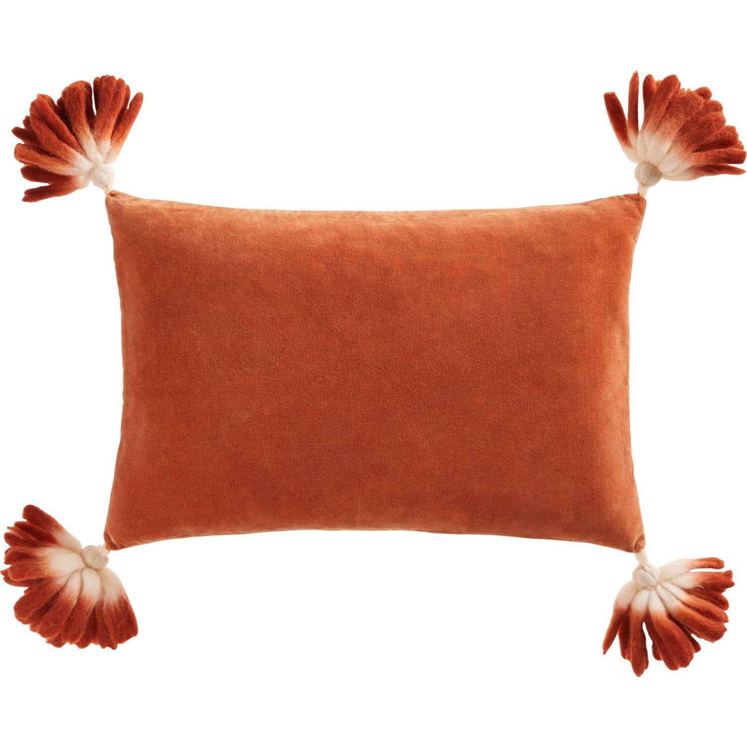 An orange velvet lumbar pillow with ombré tassels by CB2.