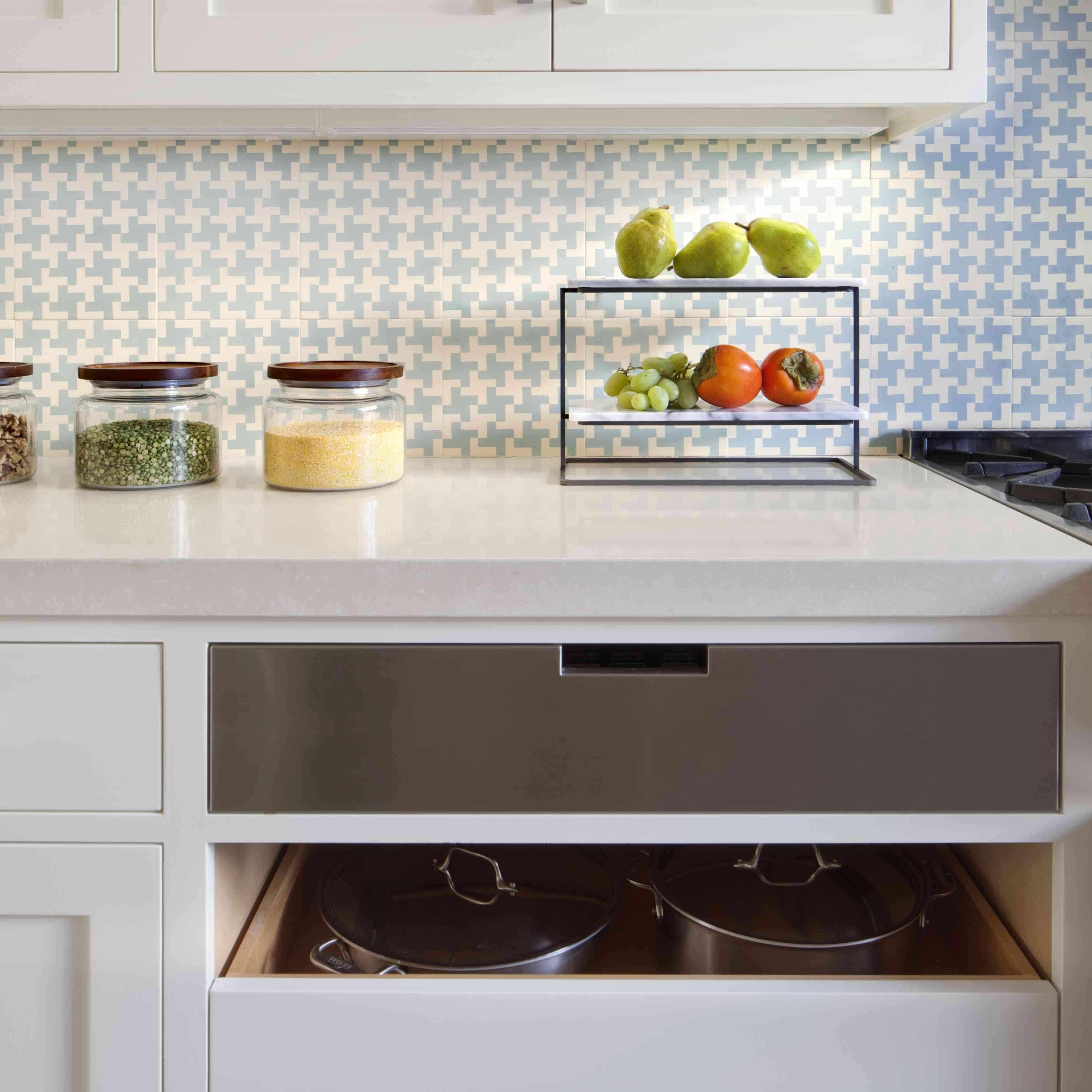 makeover of the week - mansfield + o'neil kitchen with blue subway tile
