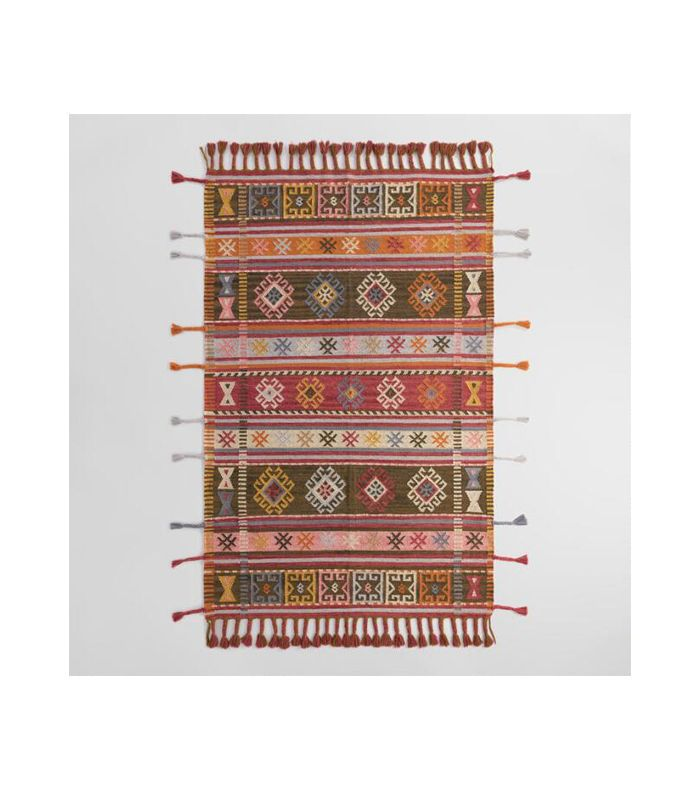 World Market Multicolor Stripe Kilim Woven Zaire Indoor Outdoor Rug