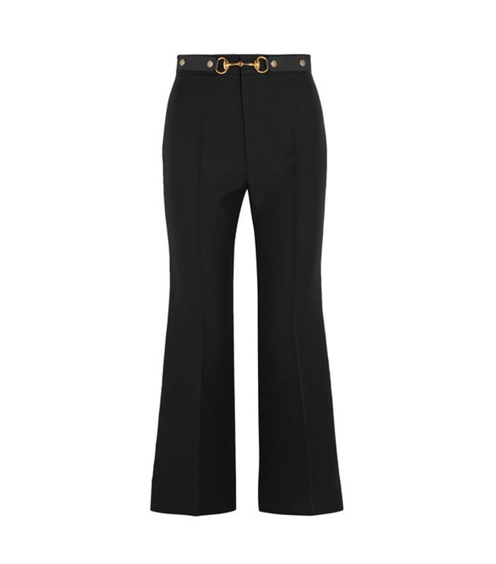Horsebit-detailed Wool And Silk-blend Crepe Wide-leg Pants