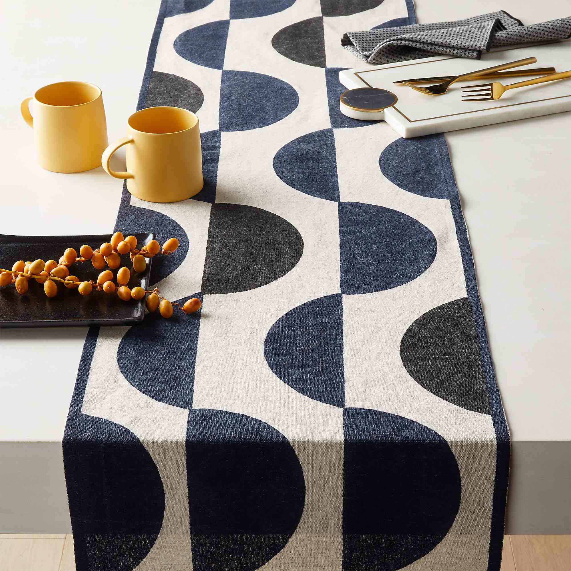 A bold table runner, currently for sale at CB2