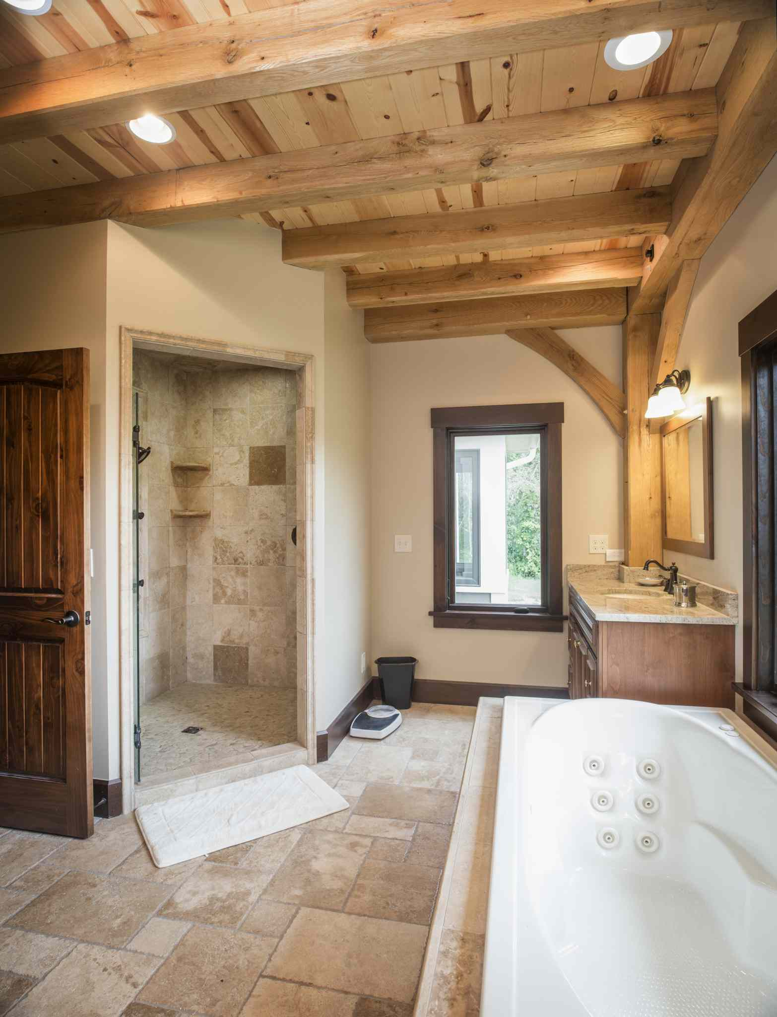 Bathroom with wooden ceiling