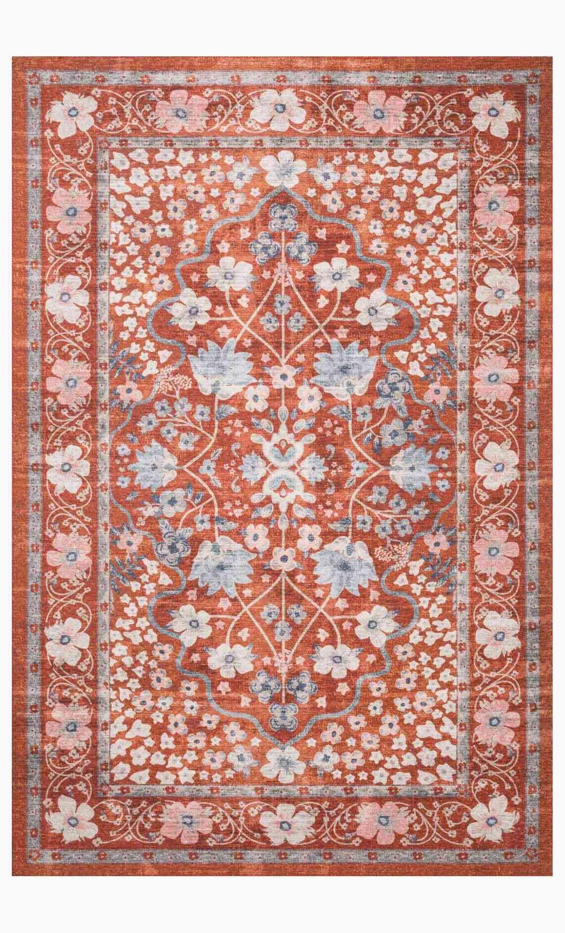 Meadow Crimson Printed Rug