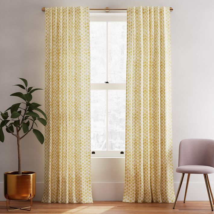 Cotton Canvas Stamped Dot Curtains