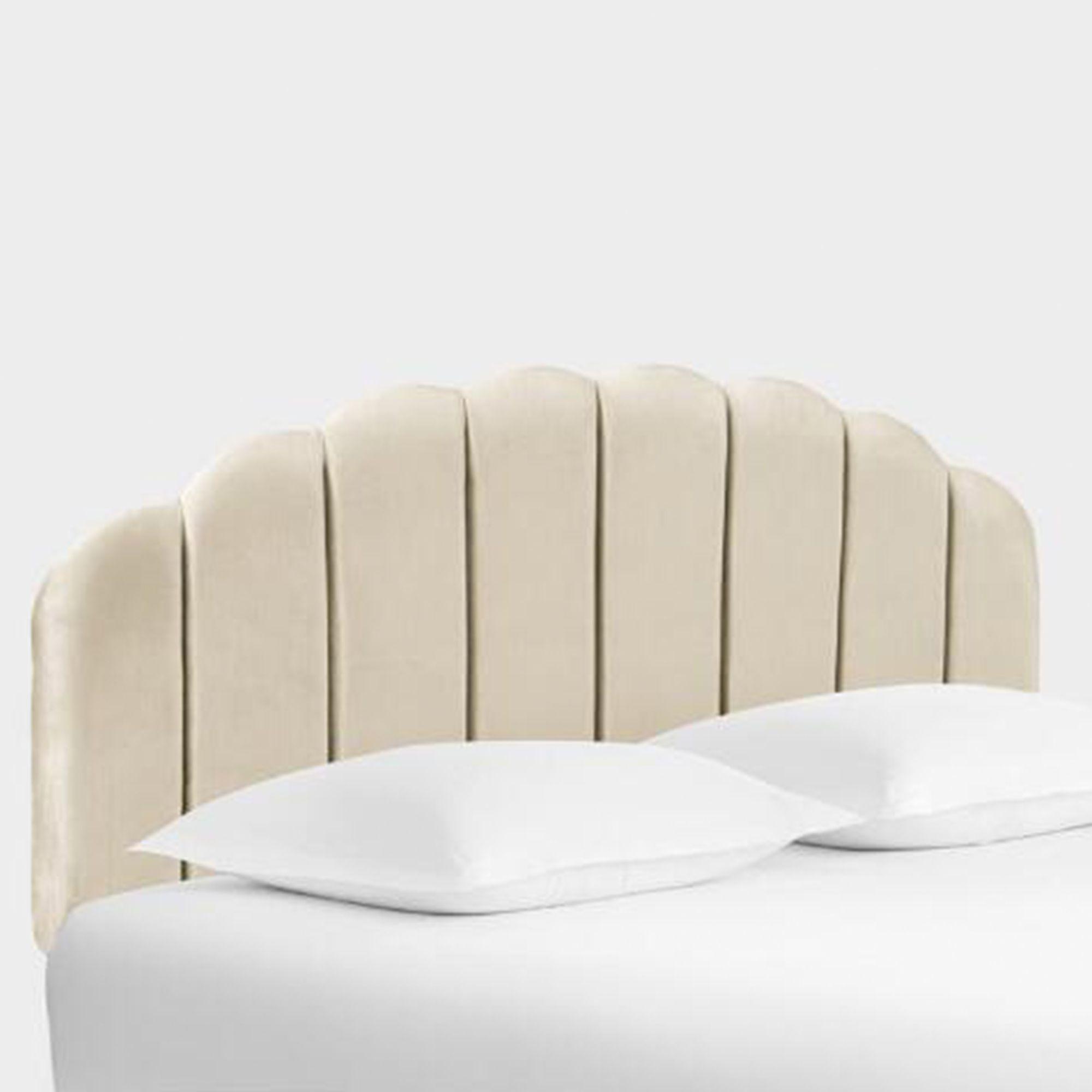 white velvet scalloped headboard