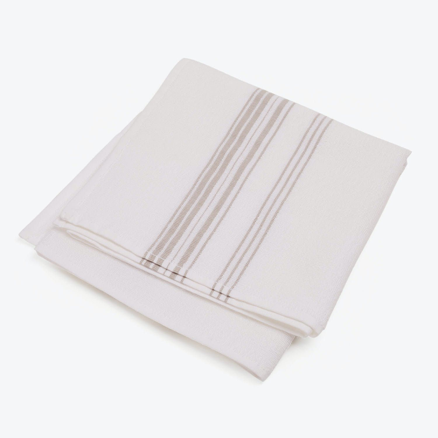 White and grey striped hand towel