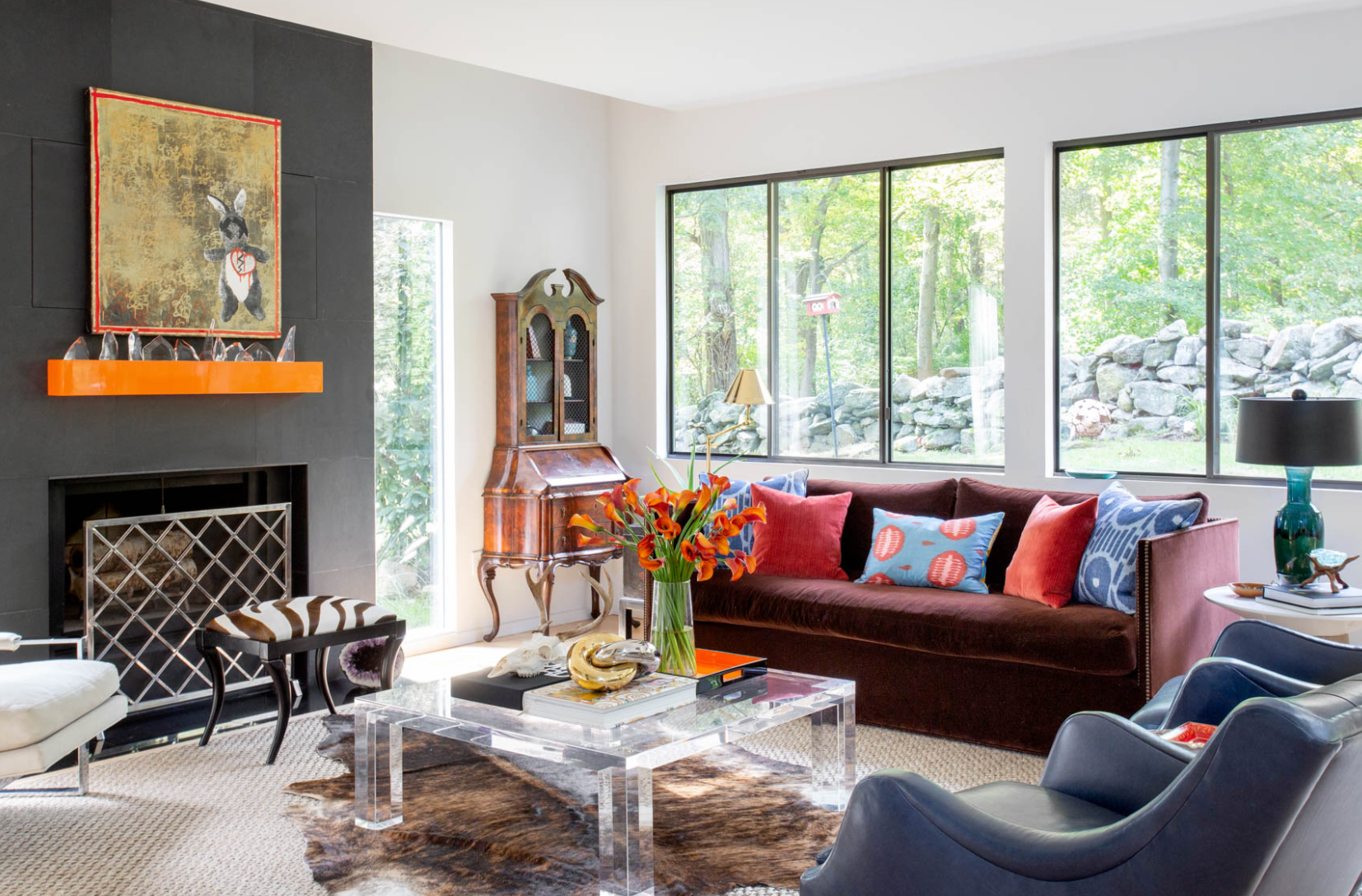 Living room with lucite coffee table
