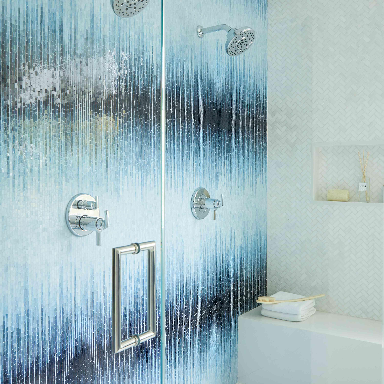 Blue tiled shower.