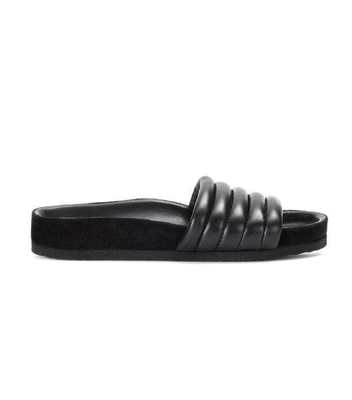 An Isabel Marant Hellea Leather pool slide.