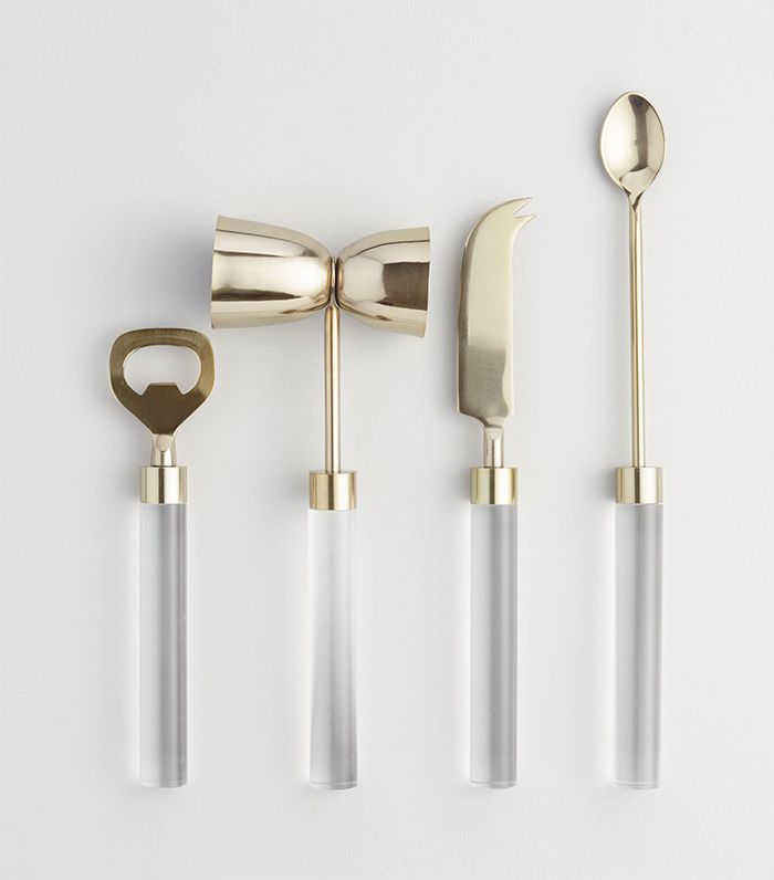 Gold and Acrylic Bar Tools Set of 4 by World Market