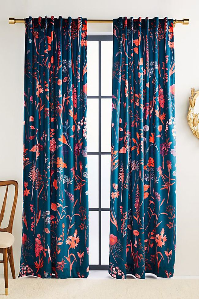 Blue floral printed curtains.