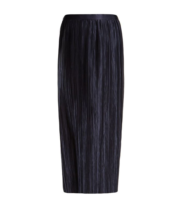 Plissé-pleated high-rise midi skirt