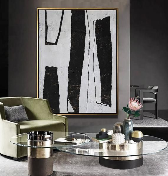 Ethan Hill Art Oversized Abstract Painting Original Art, Large Painting on Canvas, Vertical Modern Art, Black, white, brown - Ethan Hill Art No.H190V