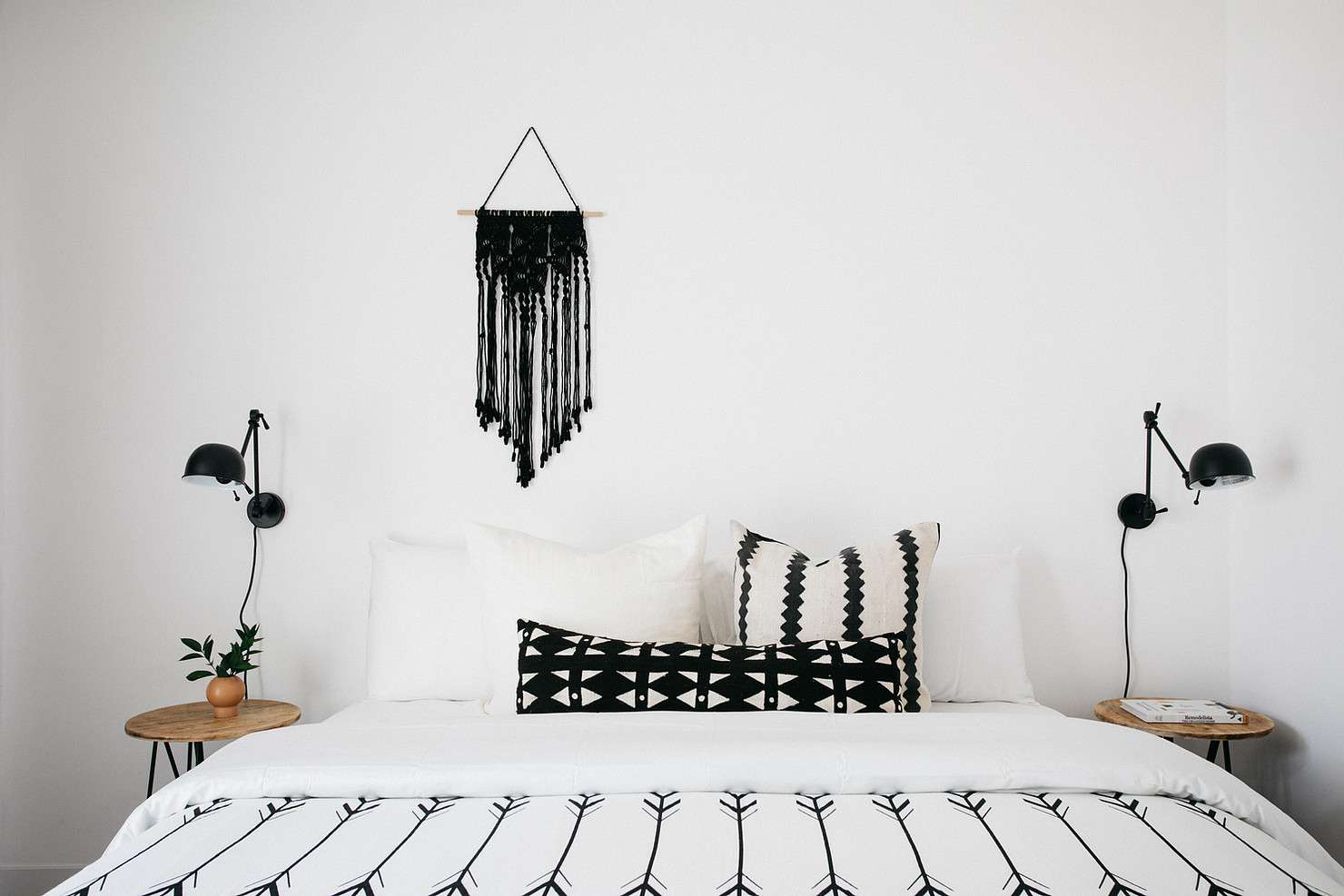Fresh and clean white bedroom