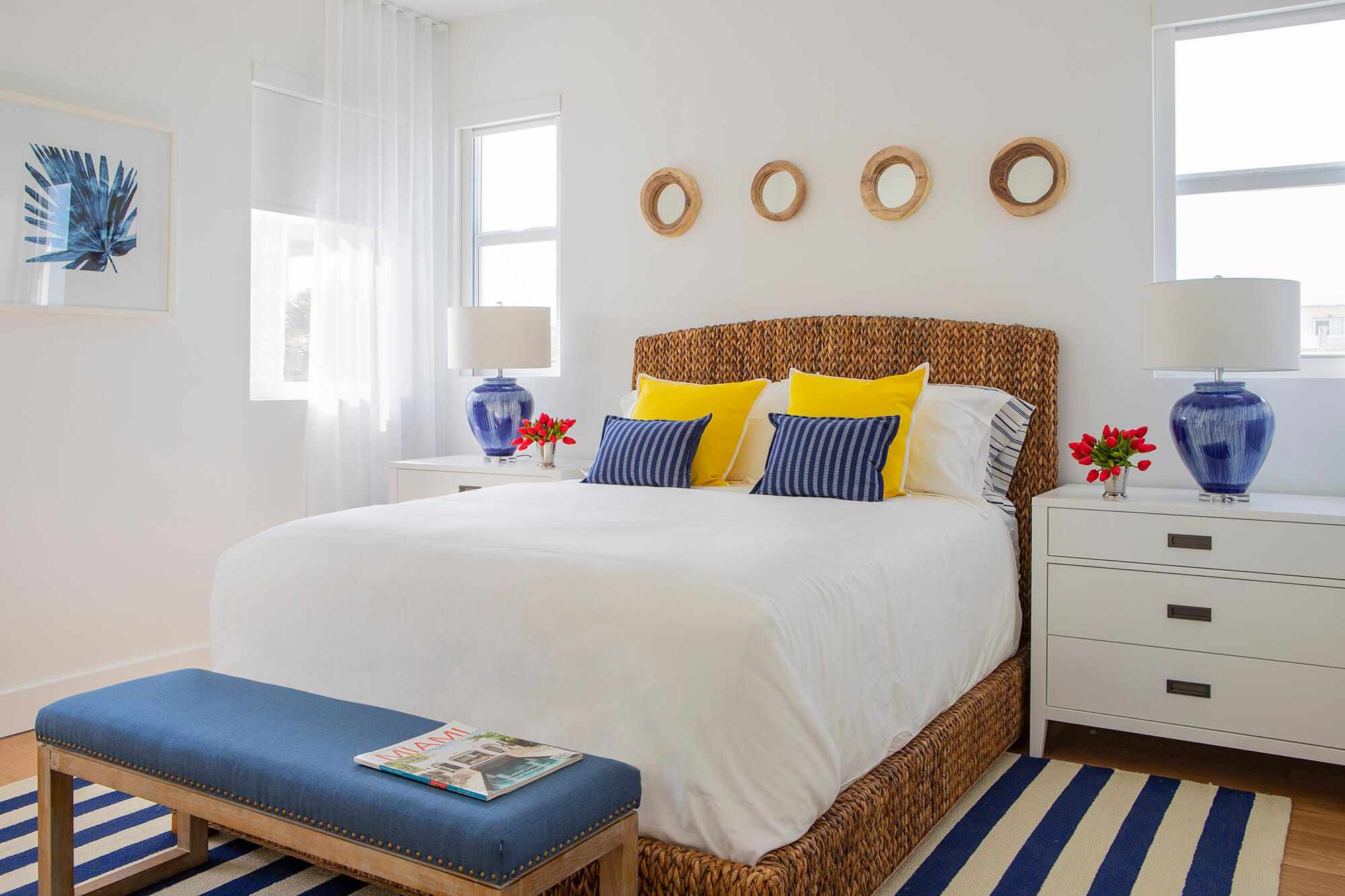 bedroom with wicker bed frame
