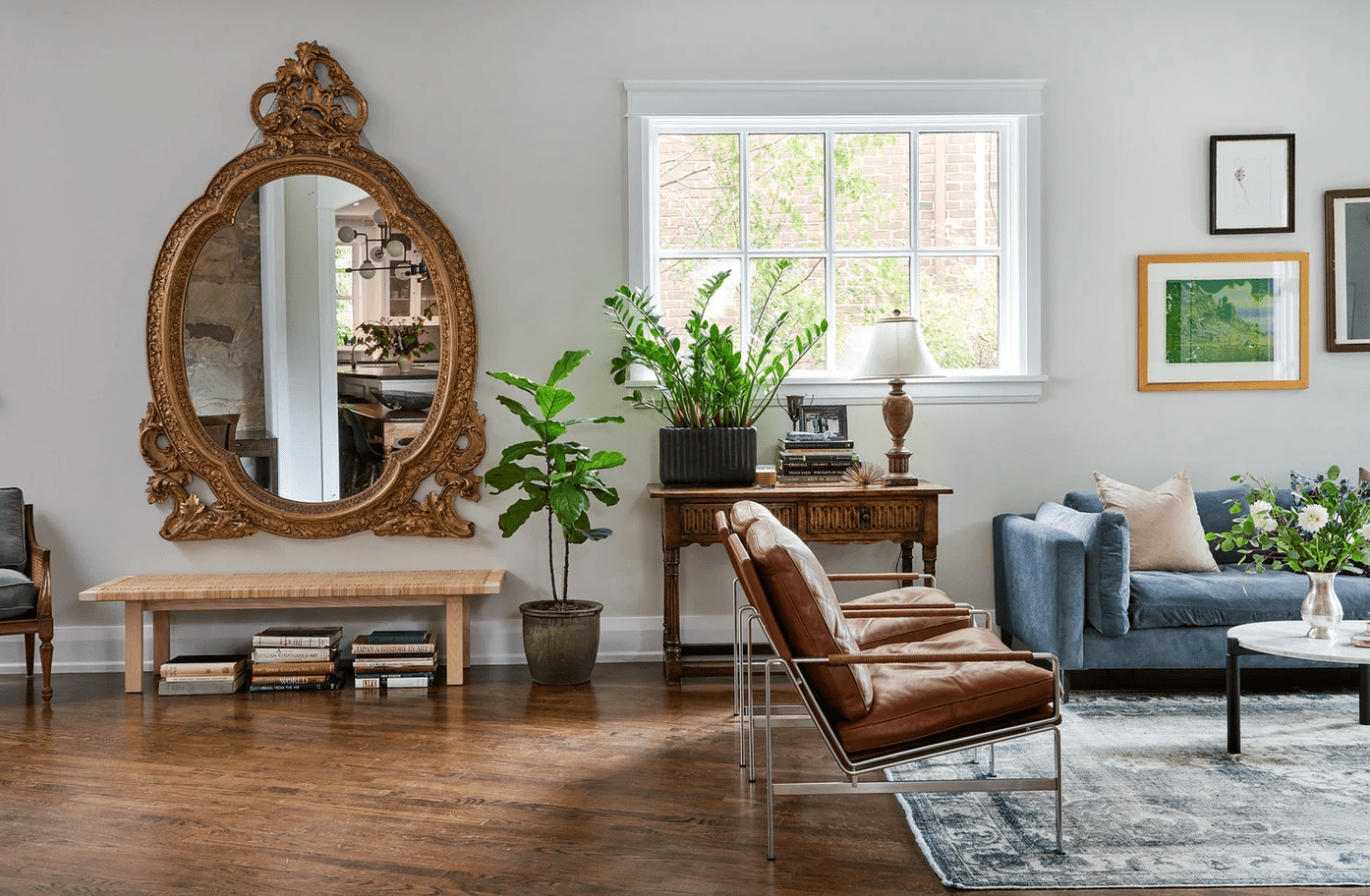 Living room with ornate mirror