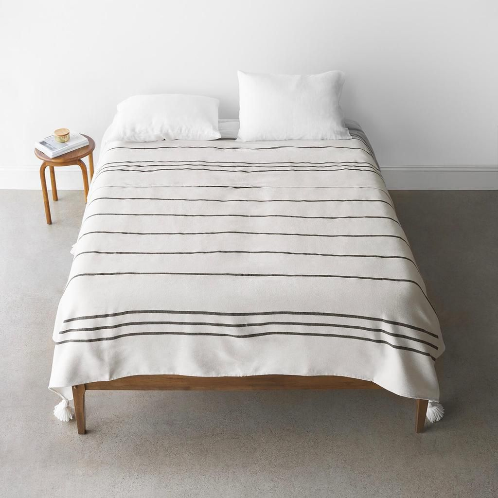 striped bed blanket