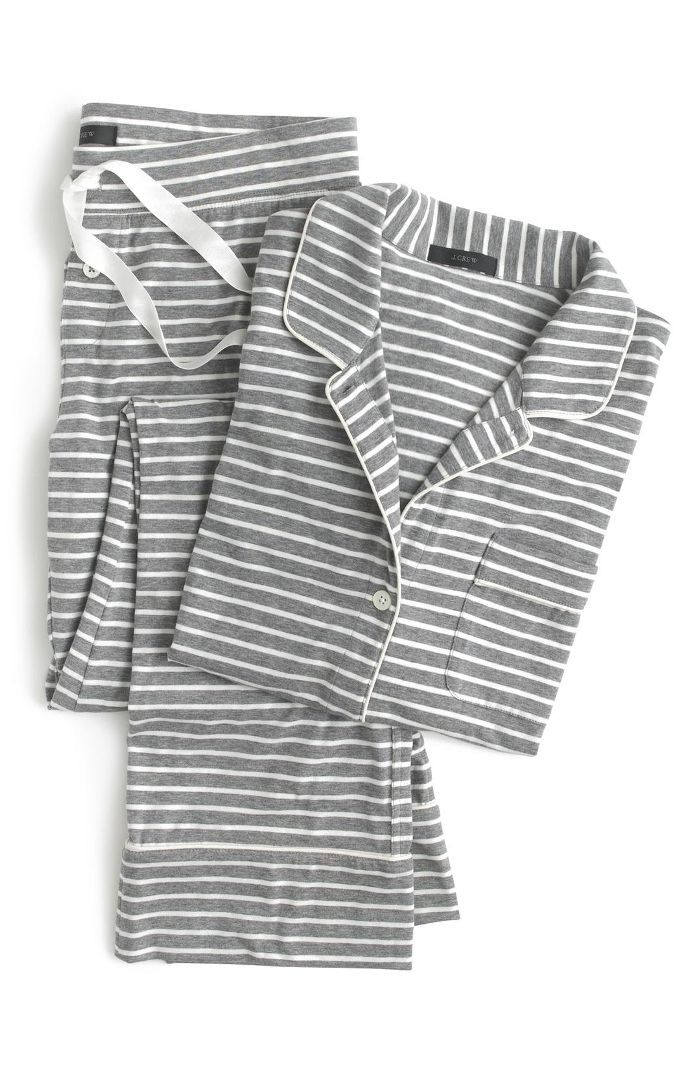 Women's J.crew Dreamy Stripe Cotton Pajamas