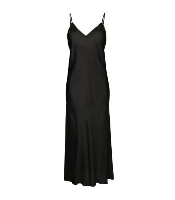 V-neck slip dress with lace