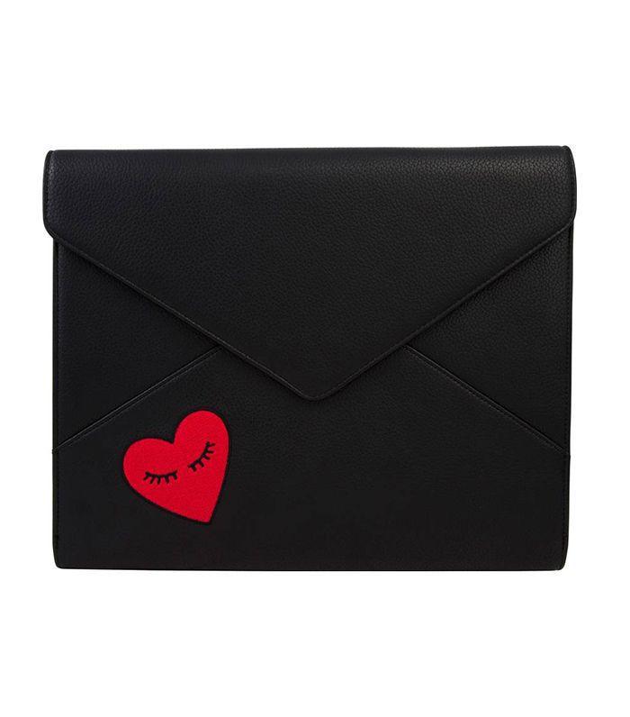 Fancy Heart Faux Leather Laptop Clutch -