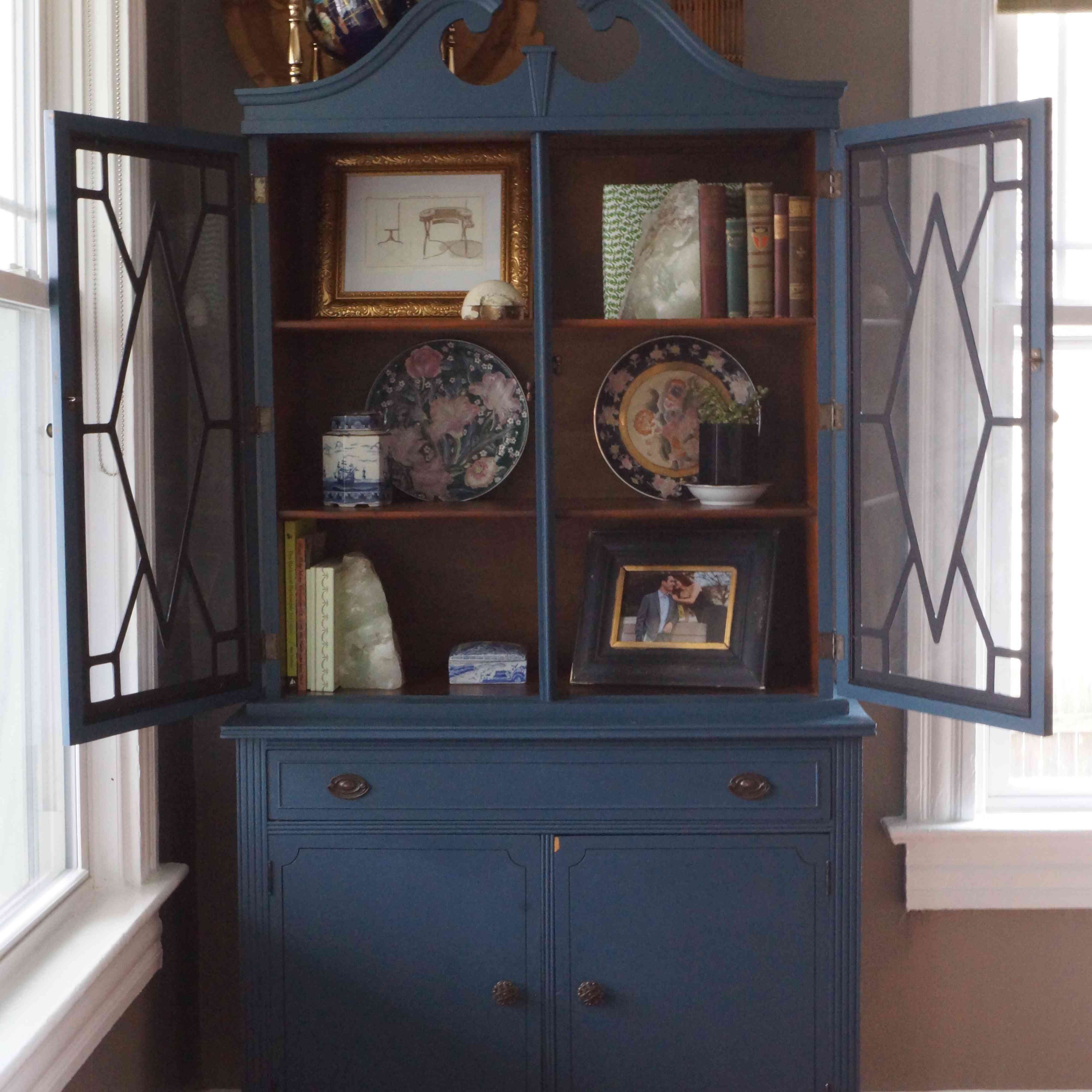 Blue cabinet in a home