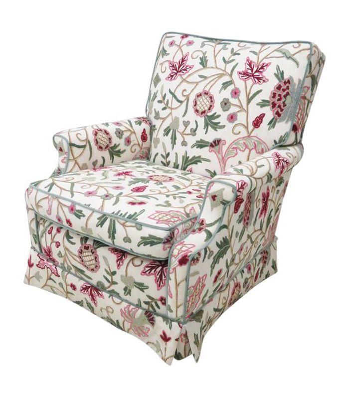 Chairish Floral Crewelwork - Silla de club