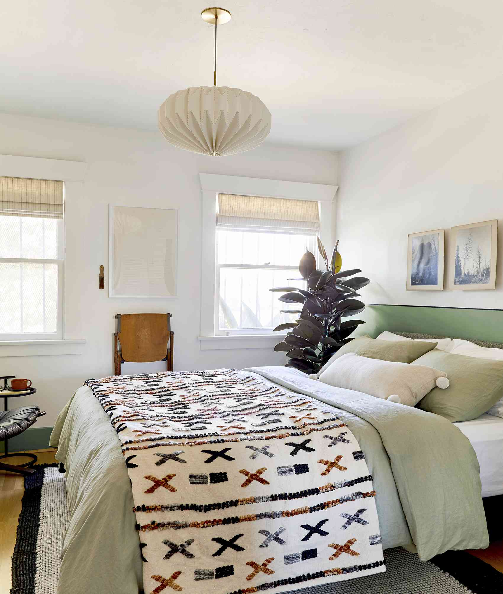 how to decorate with sage green - light green comforter in bedroom
