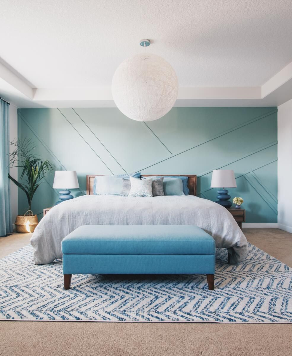 Blue hued bedroom