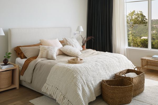 Cozy neutral bedroom with The Citizenry fall collection.