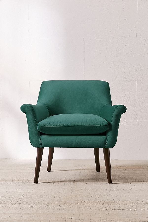 Eleanor Velvet Arm Chair - Dark Grey One Size at Urban Outfitters