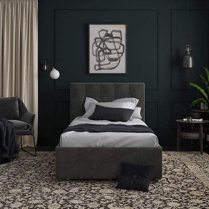 DHP Rose Storage, Grey Velvet- Twin Upholstered Bed