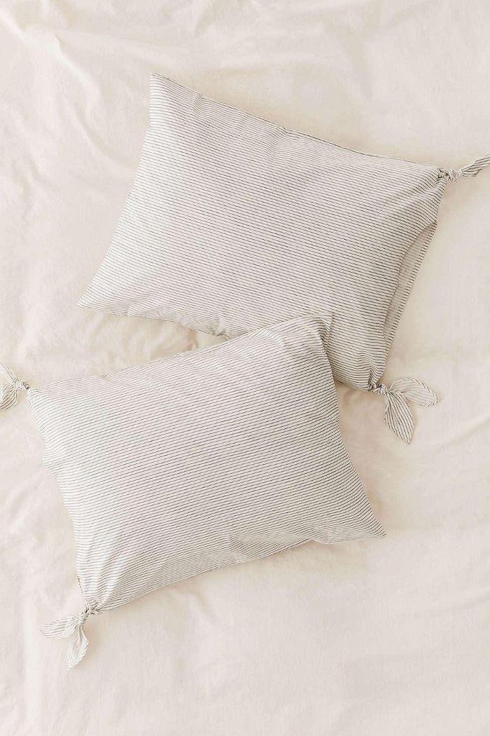 Washed Cotton Striped Knot Sham Set