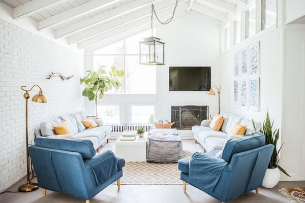 a white-walled living room