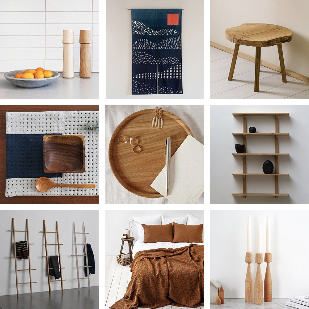 Collage of Japandi style home decor.
